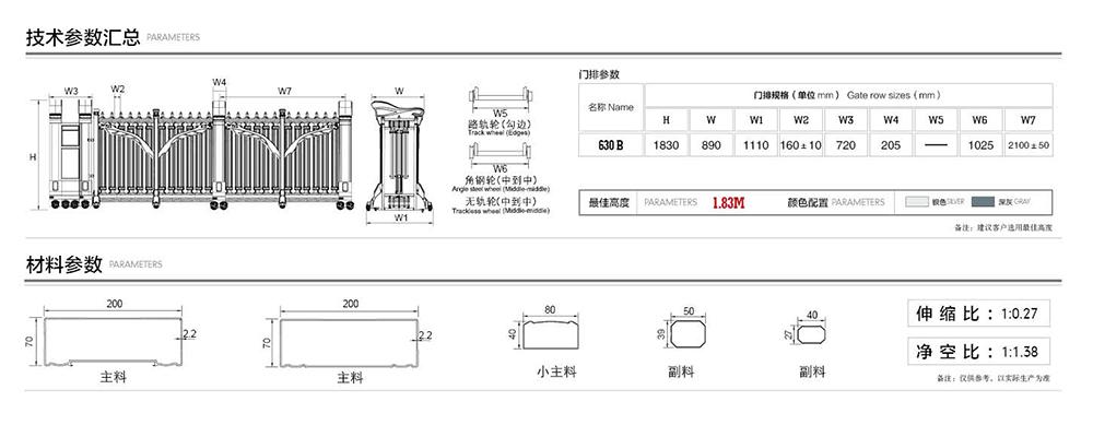 630雄师系列电动伸缩门产品参数