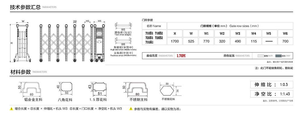 710雄盾系列电动伸缩门产品参数